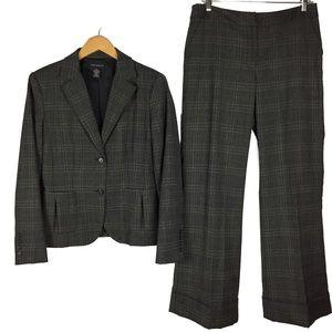 Rafaella wool blend plaid career pant suit